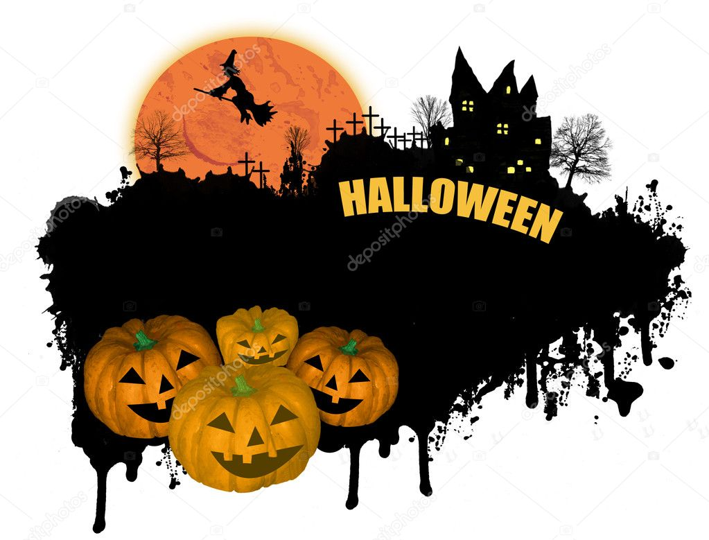 Grungy Halloween background with pumpkins, witch and house on white — Stock Vector #6591836