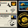 Stock Vector: Halloween post cards and stamps