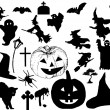 Stock Vector: Halloween silhouettes