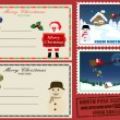 Christmas post cards and stamps — ベクター素材ストック