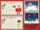 Christmas post cards and stamps — Stock Vector