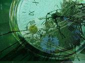 часов и цветы гранж — Стоковое фото