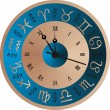 Stock vektor: Vector clock zodiac
