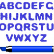 Blue marker alphabet — Stock Vector