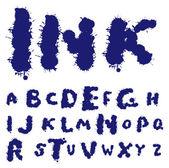 Ink blots alphabet — Stock Vector
