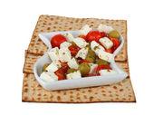 Matza and salad — Stock Photo