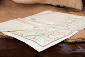 Vintage old paper map — Stock Photo