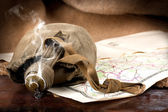 Vintage smoking flask and retro map — Stock Photo