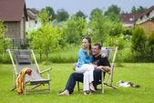 Happy couple on nature — Stock Photo