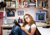 Teenager girl relax home — Stock Photo