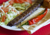 Turkish tradition meal - Adana kebab — Stock Photo
