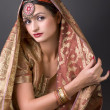 Portrait with traditionl costume. Indian style — Stock Photo #5812599