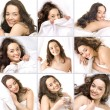 Young girl sleeping on a pillow — Stock Photo