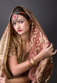 Portrait with traditionl costume. Indian style — Stock Photo