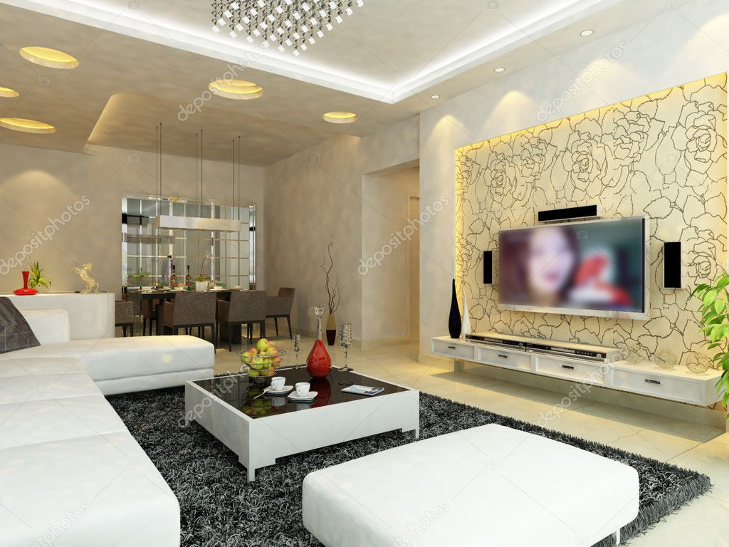 modern living room gallery on Modern Living Room With Lcd Interior 3d Render   Stock Photo    Jia