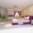 Rendering  bed room — Stockfoto