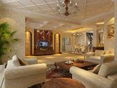 Interior fashionable living-room rendering — Stock Photo