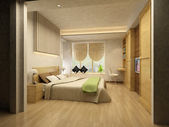 Rendering of home interior focused on bed room — Foto de Stock