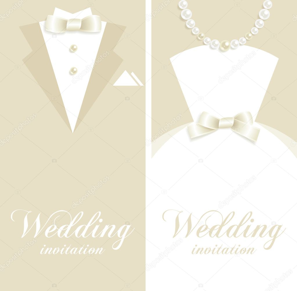 Wedding backgrounds with tuxedo and bridal dress silhouettes  Vektorgrafik #5834712