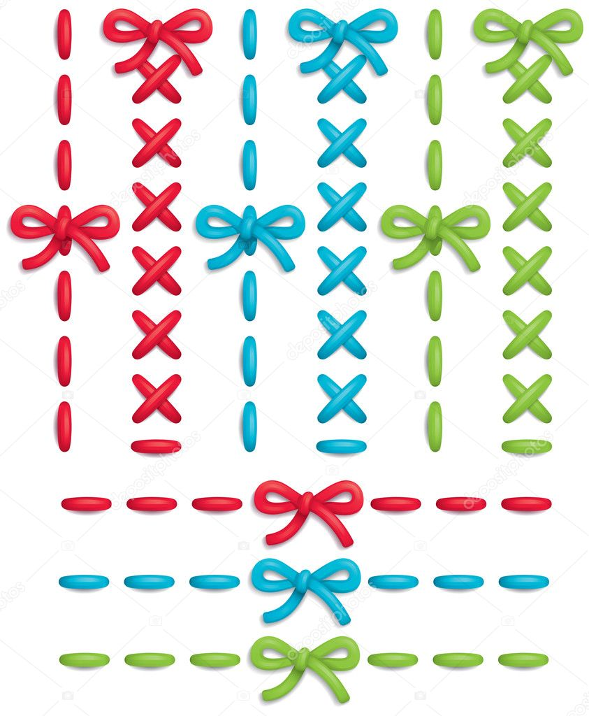 Set of colorful vector stitches and bows  Stock Vector #5834731
