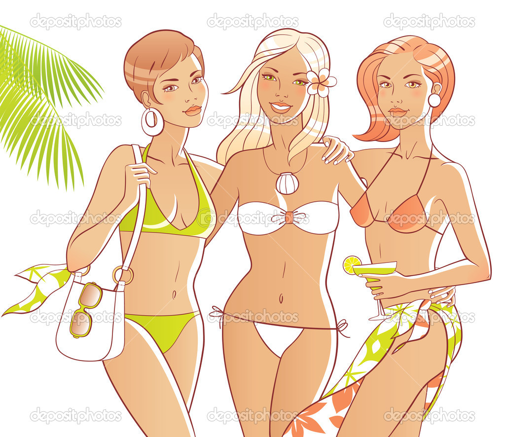 Three tanned women on the beach. Bodies and accessories are separate. — Stock Vector #5834745