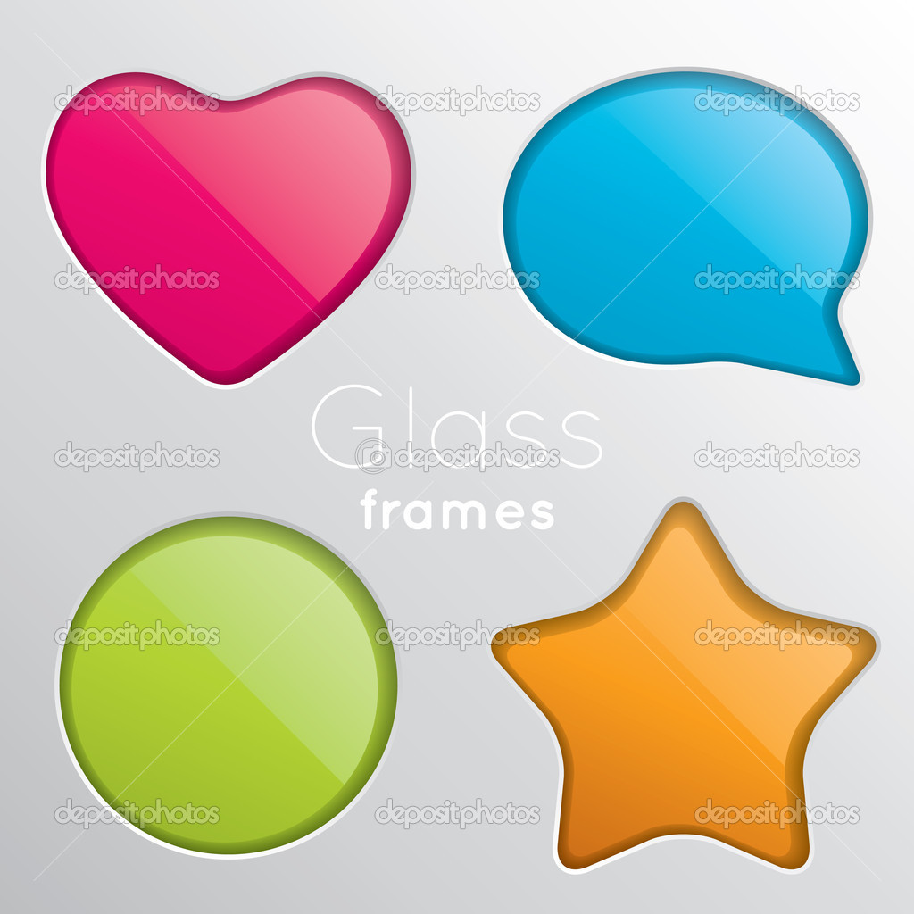 Set of four colored frames of glass — Stock Vector #5967030