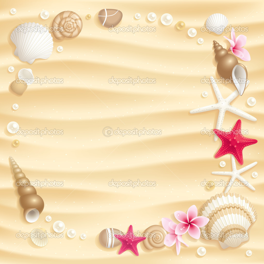 Frame of seashells and starfishes on the sand — Stock Vector #6259467