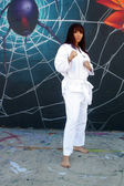 Beautiful Martial Arts Girl and Graffiti (2) — Stock Photo