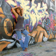 Beautiful Mature Black Woman with Graffiti (7) — Stock Photo