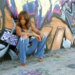 Beautiful Mature Black Woman with Graffiti (4) — Stock Photo