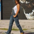 Beautiful Mature Black Woman with Graffiti (10) — Stock Photo