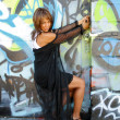 Stock Photo: Beautiful Mature Black Woman with Graffiti (14)