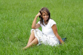 Woman in a Grassy Field (4) — Stock Photo
