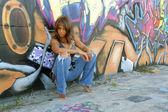 Beautiful Mature Black Woman with Graffiti (4) — Stock Photo