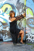 Beautiful Mature Black Woman with Graffiti (14) — Stock Photo