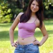 Beautiful Young Brunette outdoors (2) — Stock Photo
