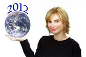 "Beautiful Blonde Holding the Earth and ""2012"" — Stock Photo"