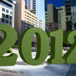 Royalty-Free Stock Photo: Green 2012 in a Downtown Plaza