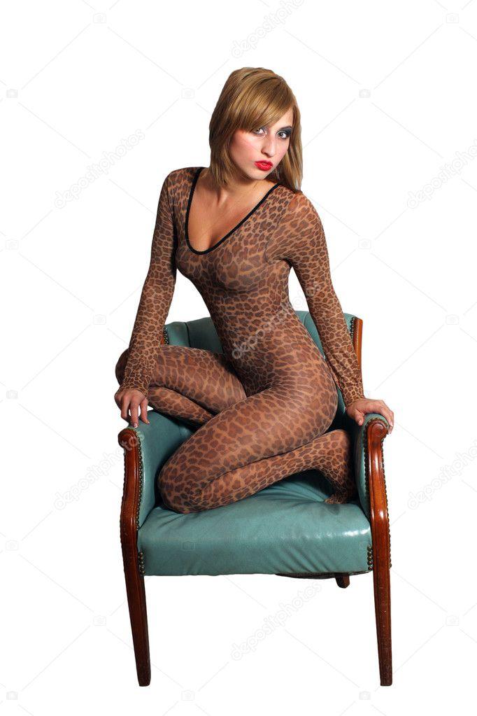 Beautiful Blonde Wearing Leopard Bodysuit 1 Stock