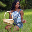 Beautiful Woman in Grassy Field with a Basket (1) — Stock Photo