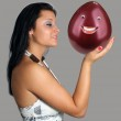Beautiful Brunette with Anthropomorphic Balloon in Her Hand — Stock Photo