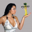 Beautiful Busty Brunette with a Yellow Squash in Her Hand — Stock Photo