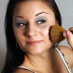 Beautiful Brunette Applies Makeup with Brush (1) — Stock Photo