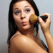 Beautiful Brunette Applies Makeup with Brush (2) — Stock Photo