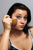 Beautiful Brunette Applies Makeup with Brush (3) — Stok fotoğraf