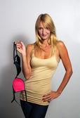 Beautiful Blonde Holding a Bra (1) — Стоковое фото