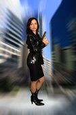Beautiful Brunette with a Pistol (2) — Stock Photo