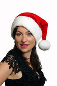 Beautiful Brunette with Santa Hat (4) — Stok fotoğraf