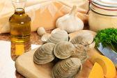 Littleneck Clams in the Kitchen — Stock Photo