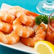 Fresh Shrimp on Aqua Background - Stock Photo